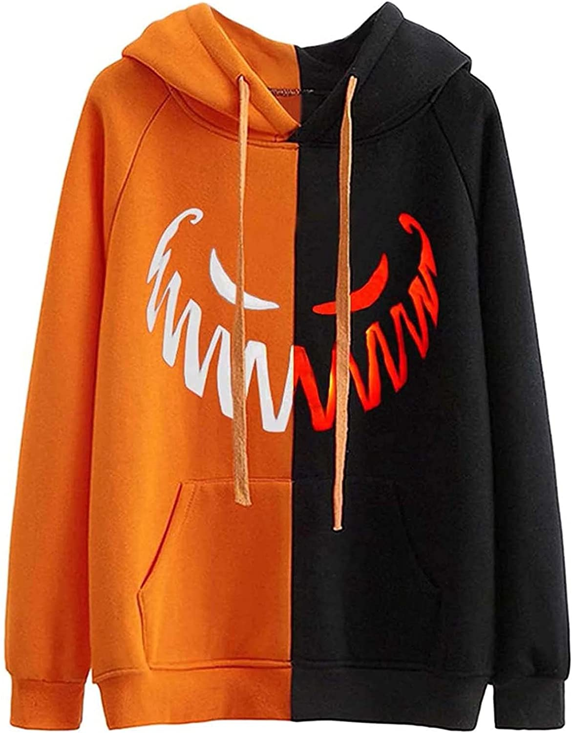 Halloween Hoodies for Women, Long Sleeve Hooded Funny Pumpkin Face Sweatshirts Casual Tops with Pockets