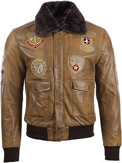 Aviatrix Men's Real Leather Aviator Pilot Bomber Jacket (JWR3)