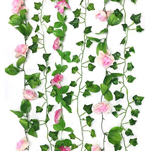PietyDeko 6 Stück Dekorative Kunst Blume Plastikblumen Rosen mit Efeu Künstlich Girlande Blumenstrauß Efeugirlande Hochzeit, Hause & Büro - Rosa