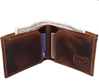 Hide & Drink, Leather Classic Wallet, Holds Up to 6 Cards Plus Flat Bills/Holder/Vintage/Travel/Pocket/Accessories, Handmade Includes 101 Year Warranty :: Bourbon Brown