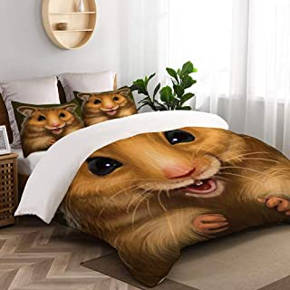DAOPUDA Duvet Cover Full Size,Cheerful Red Hamster,Decorative 3 Pieces Bedding Set with Zipper Closure and 2 Pillow Shams (80