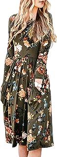 ZESICA Women`s Long Sleeve Floral Pockets Casual Swing Pleated T-Shirt Dress