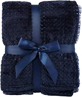 Simplicity Flannel Throw Blankets Luxury Interweaved Colored Bed Blankets, Navy