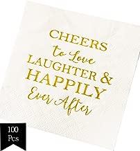 Crisky 100 Pcs Bridal Shower Napkins Disposable Cocktail Napkins 3-Ply Gold Foil Text Beverage Napkins for Engagement Party Decorations & Wedding Shower