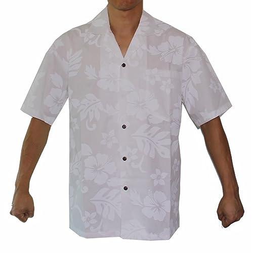 957498a9b Alohawears Clothing Company Men's Hibiscus White Wedding Cruise Luau Hawaiian  Shirt