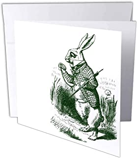 3dRose PS Vintage - White Rabbit Late from Alice in Wonderland - 12 Greeting Cards with envelopes (gc_179093_2)