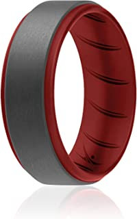 ROQ خواتم سيليكون للرجال 1/4/6 متعددة العبوات من أربطة مطاطية للرجال قابلة للتنفس - بحافة دائرية
