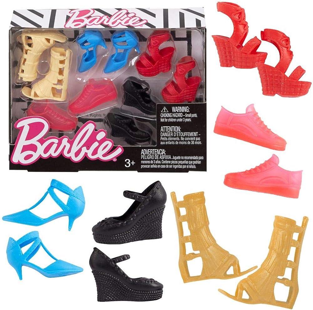 Mattel, scarpette per la bambola barbie FCR93