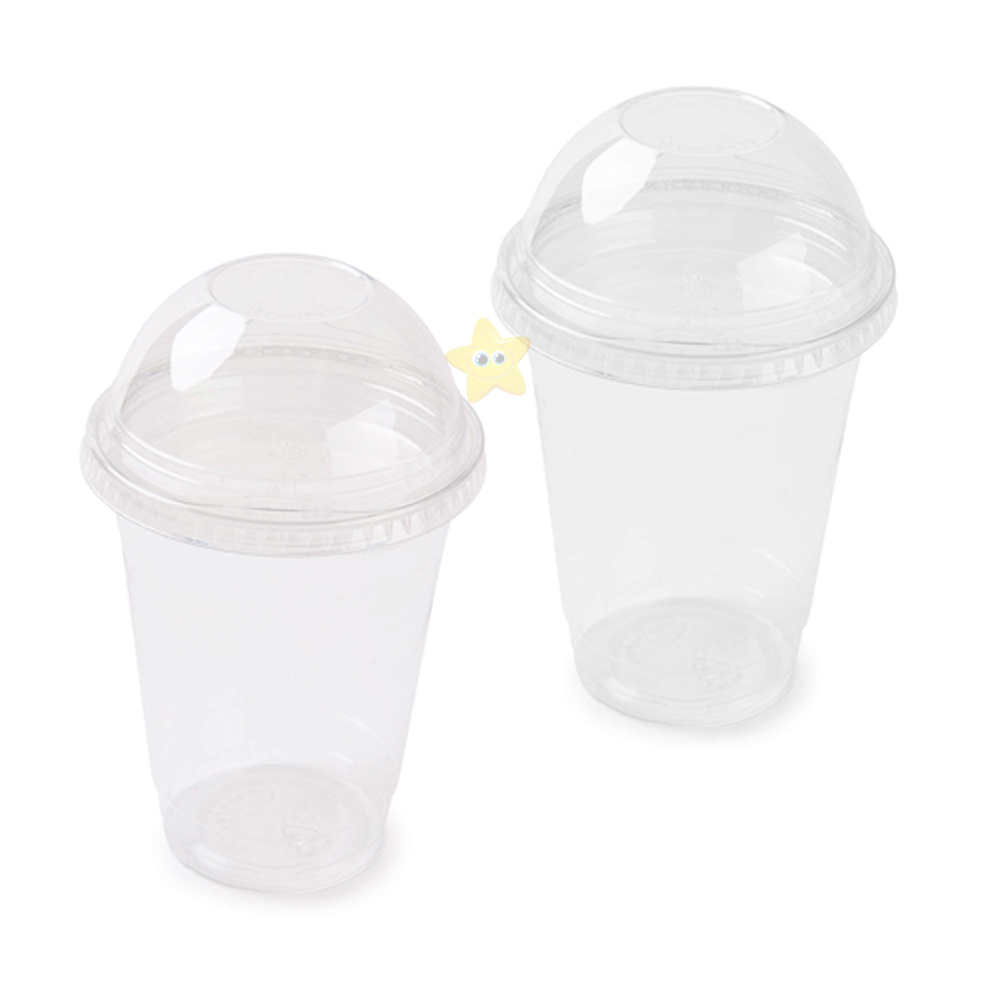 milkshakes straws with 7.5mm bore AIOS Avenue Smoothie Cups with Dome Lids and Straws iced drinks ideal for thick smoothies and milkshakes. Pack of 50 coffees juices Smoothies 400ml//14oz