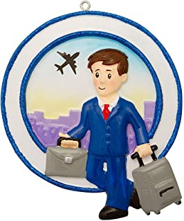 Personalized Occupation Business Travel Male Christmas Tree Ornament 2019 - Leisure Work-Place Suit Flight Airplane World Abroad Captain Job Online Agent Teacher Man Attendant - Free Customization