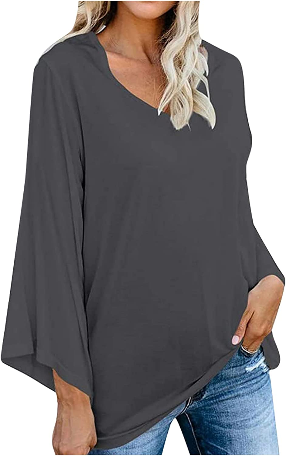 Women's Loose Fit Casual Long Butterfly Sleeve Deep V Neck Solid Color Hide Tummy Vintage Tunic Top Tshirts Blouse Tee