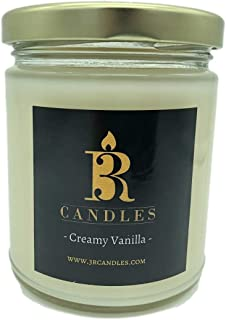 3R Candles Creamy Vanilla Scented Glass Jar Candle - Soy/Paraffin Wax Blend - with Coconut Berries & Tonka Beans - Birthda...