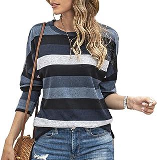 GUOCAI Women's Fashion Round Neck Stripe Long Sleeve Loose Fit T Shirts