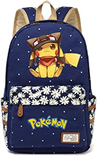 AUGYUESS Korean Canvas Cartoon Anime School Bag Daypack Book Bag Laptop Bag Backpack for Children (Dark Blue 1)