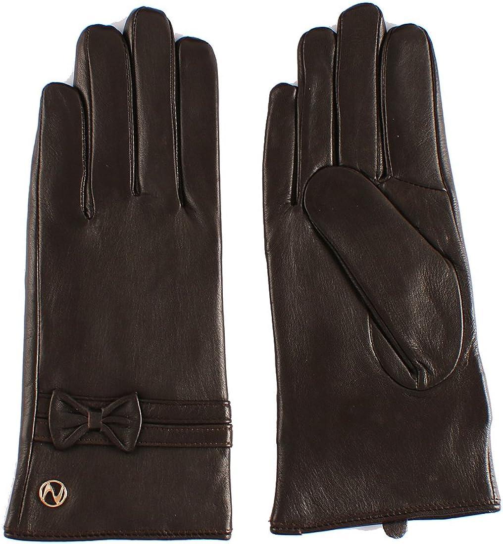 Women Lambskin Leather Glove - Touchscreen Winter Warm With Decorative Bownots