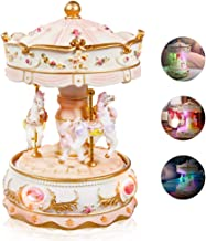 LOVE FOR YOU Crystal Carousel Music Box Color Change LED Light Luminous Rotating 3-Horse Musical Box as Christmas Birthday Valentines Childrens Gifts,Castle in The Sky Tune(Hand Spun Glass)