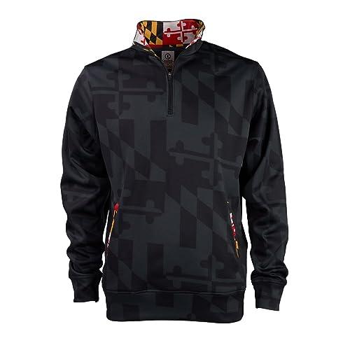 c951318737a Covalent Activewear Maryland Flag Souvenir Gift ¼ Zip Sweatshirt with  Fleece Front Pockets and Hidden Media