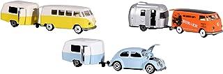 Dickie Majorette 212052014 Vintage Trailer Assortment, Miniature Die Cast Vehicles Set with Vehicle and Trailer, 3 Different Models, 7, 5 cm