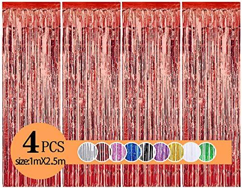 YWILL Cortinas de Malla Metálica/Cortina de lámina/Franjas Decoración Fondopara Fiesta de Cumpleaños/Bodas,Decoraciones Bricolaje Ventana/Puerta Apoyos Foto/Fotomatón para Festival Navidad Halloween