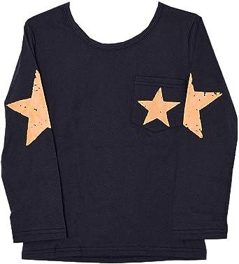 Plus Nao(プラスナオ) 長袖Tシャツ カットソー ロンT プリントTシャツ 子供服 男の子 女の子 男児 女児 薄手 トップス スター柄 星柄 バッ ネイビー 150