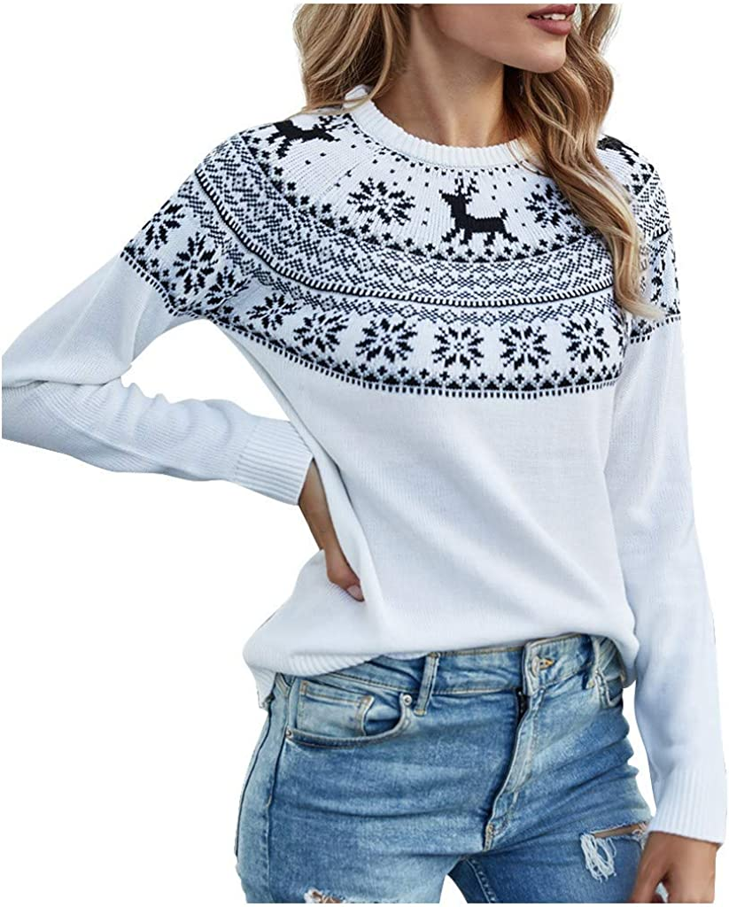 Women's Pullover Sweaters,Christmas Snowflake Print Color Block Knitted Sweater Crew Neck Loose Pullover Jumper Tops