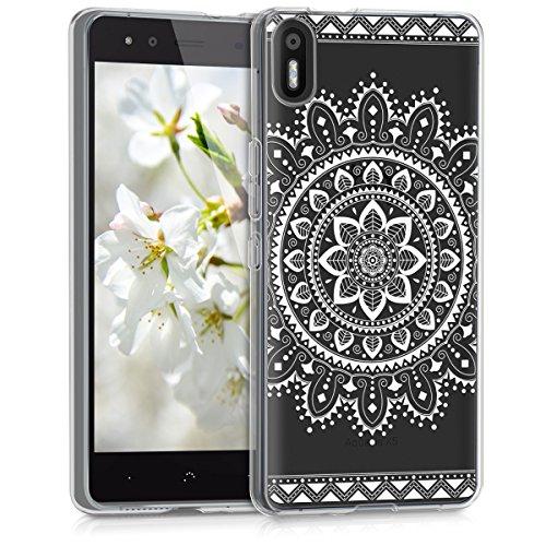 kwmobile Hülle kompatibel mit bq Aquaris X5 - Hülle Silikon transparent Aztec Blume Weiß Transparent