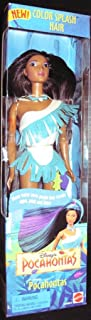 Disney's Pocahontas Color Splash Hair, warm water turns purple hair streaks aqua, pink and blue