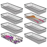 mDesign Metal Farmhouse Kitchen Cabinet Drawer Organizer Tray - Storage Basket for Cutlery, Serving Spoons, Cooking Utensils, Gadgets - 8 Pack - Graphite