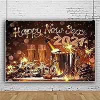 新しい新年あけましておめでとうございます2021お祝い背景7x5ft写真の背景ホースシューシャンパンワイングラスパインコーンパイン針スノーフレーク花火夜空フェスティバルパーティーポリエステル写真プロップ