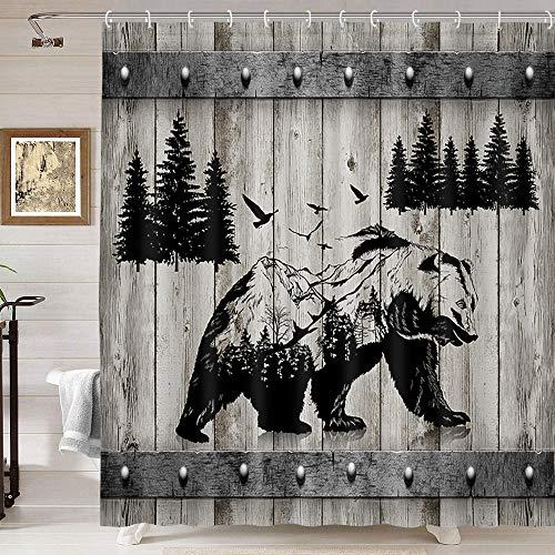 Bear Shower Curtain, Rustic Lodge Black Bear Shwoer Curtain Set, Bear Silhouette Forest Mountain Bird Art Farmhouse Rustic Shower Curtains, Vintage Country Wooden Board Bathroom Curtain, 69X70IN