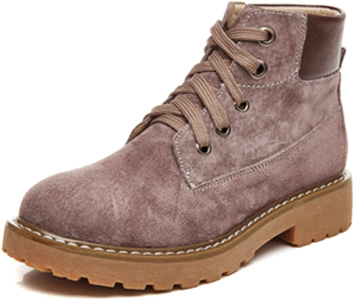 TDA Women's Lace-up Retro Casual Suede Leather Ankle Martin Boots