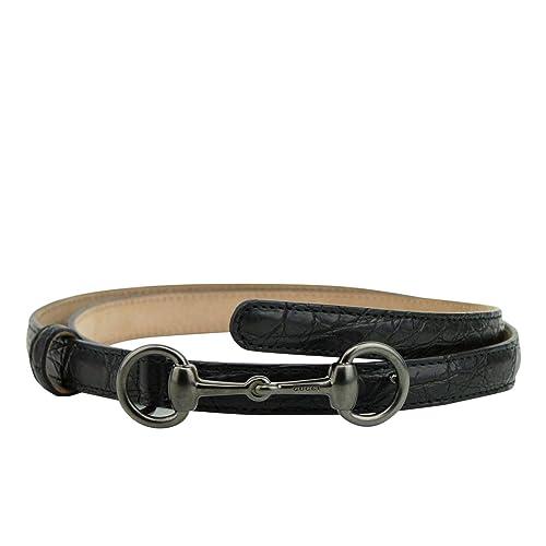 6af072a51f6e0e Gucci Women s Horsebit Buckle Black Leather Thin Skinny Belt 282349 1000