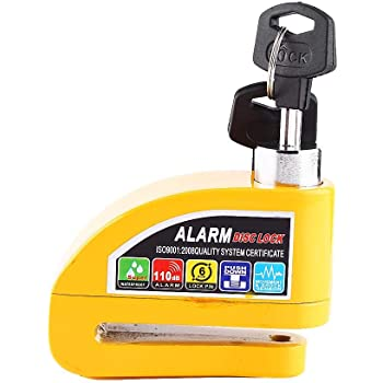 Candado de disco de alarma antirrobo, sistema de alarma de seguridad de 110 dB, bloqueo antirrobo freno disco para motocicleta o scooter(Amarillo)