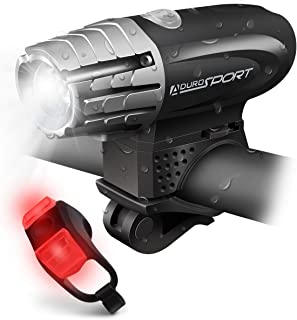 Aduro Bike Light Headlight and Taillight USB Rechargeable Bicycle LED Lights Kit