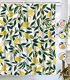 N \ A Zitronengelber Duschvorhang, komplett mit Früchten, Duschvorhang, grüne Blätter, Pflanzendesign, wasserdichter Stoff, Badezimmer-Duschvorhang-Set mit 12 Haken, grün-gelb, 72 x 72 cm