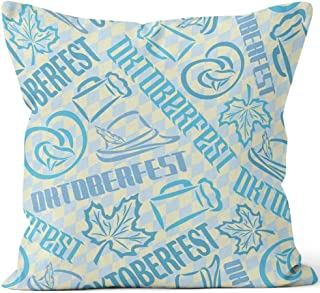 Nine City Vector Bavarian Seamless Pattern Oktoberfest Home Decorative Throw Pillow Cover,HD Printing Square Pillow case,36