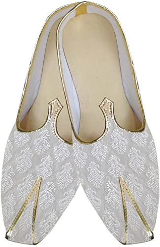 INMONARCH Herren Weiß Glänzende Indische Hochzeit Schuhe MJ0168
