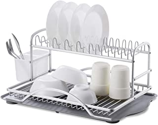 YENOREX Dish Drying Rack-Aluminum 2 Tier Kitchen Dish Rack -Dish Rack Drying with Removable Utensil Holder and Drainboard,Large Capacity