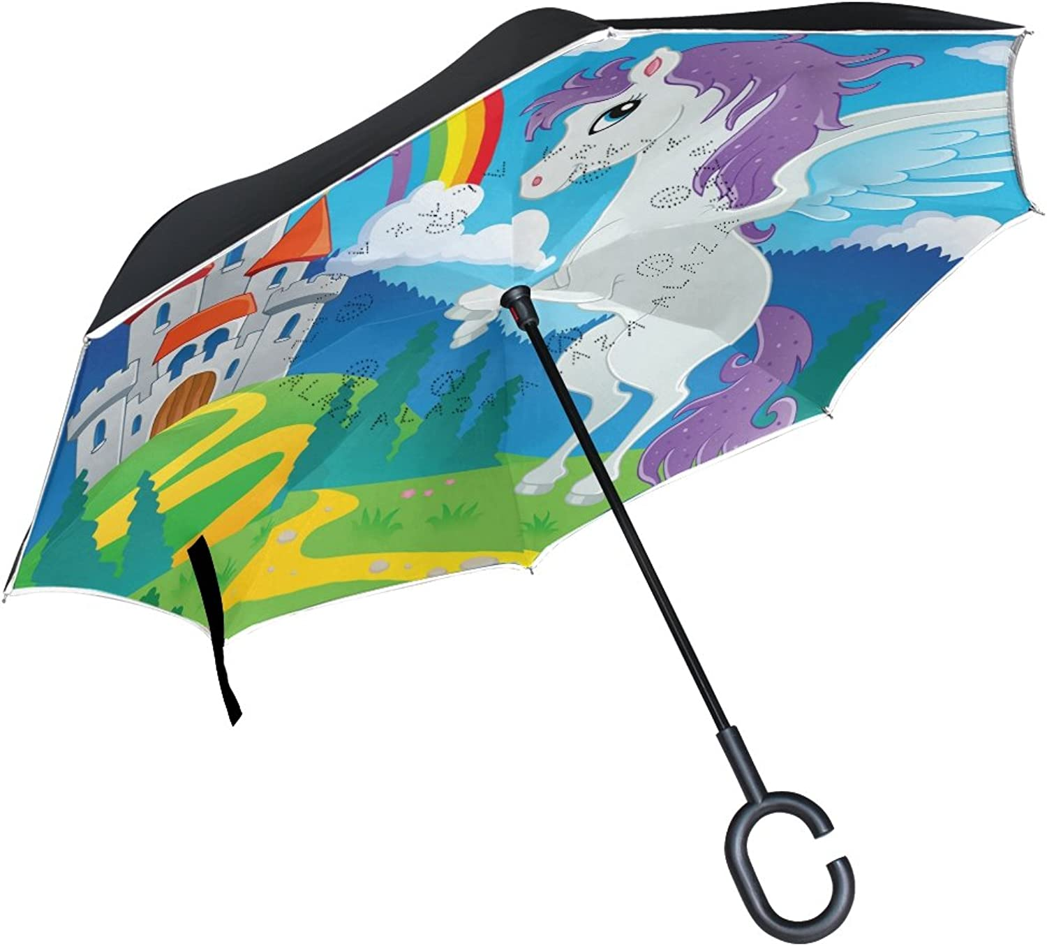 Mydaily Double Layer Ingreened Umbrella Cars Reverse Umbrella Fairy Tale Castle Pegasus Rainbow Windproof UV Proof Travel Outdoor Umbrella