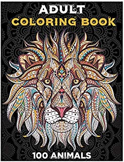 Adult Coloring book . 100 Animals: lions, dogs, bears, wolves, birds, owls. Whales, dolphins, and more