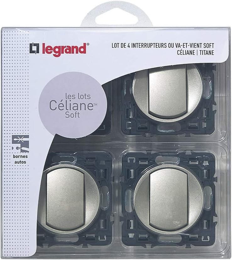 Legrand LEG200263-4x suave c/éliane//alterna switch-insertar tit/án para la instalaci/ón