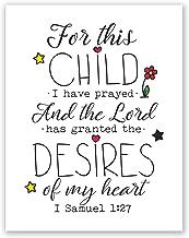 8x10 For This Child I Have Prayed Poster // 1 Samuel 1 27 // Baby Boy Nursery Wall Art // Boy Nursery Christian Decor // Baby Boy Shower Gift