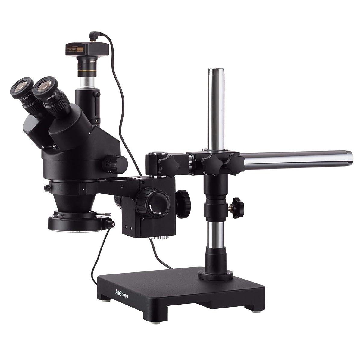 四回流行している近代化するAmScope 14MPカメラ付きシングルアームブームスタンド+ 144 LEDコンパクトリングライトの7X-90Xブラック三眼鏡ステレオズーム顕微鏡