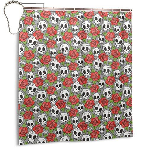 D.ADcustom Custom Shower Curtain Skulls and Roses Waterproof Bathroom