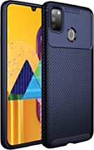 TheGiftKart Rugged Shockproof Carbon Fibre Slim Armour Back Cover Case for Samsung Galaxy M30s (Navy Blue) [ Launch Offer ]
