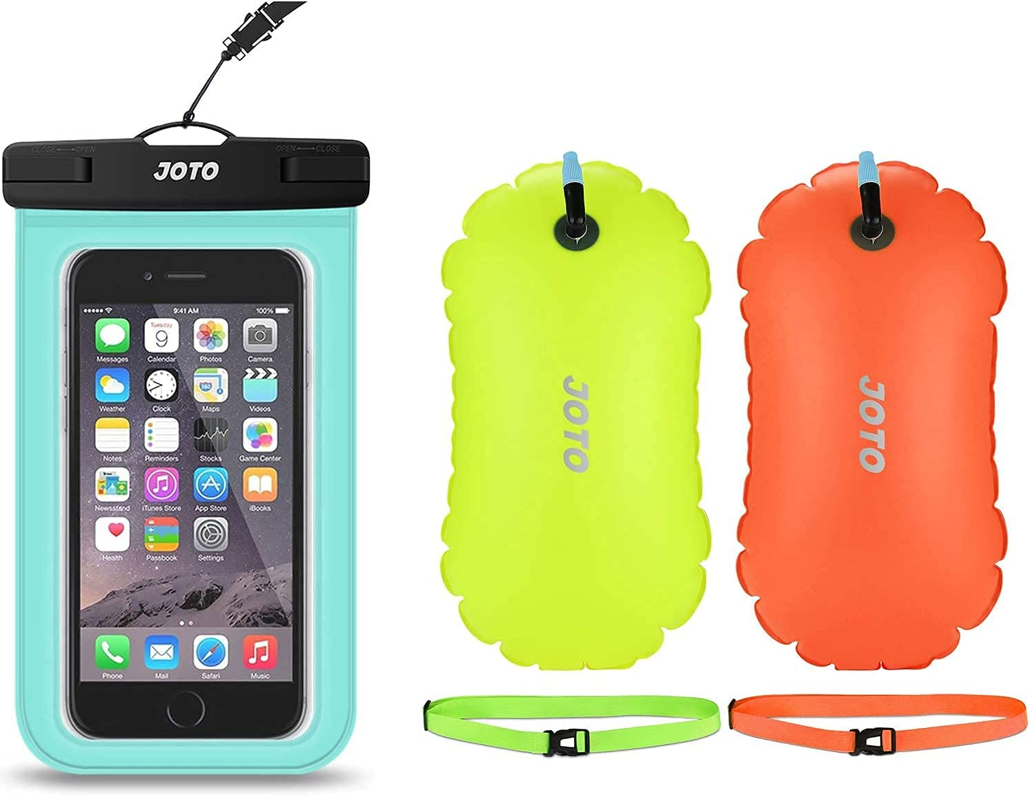 JOTO Universal Waterproof Pouch Cellphone Dry Bag Case Bundle with [2 Pack] Swim Buoy Float, Swimming Bubble Safety Float for Open Water Swimming, Triathletes, Kayaking, Snorkeling
