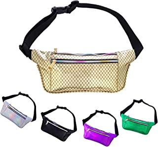 Holographic Fanny Pack for Women and Men Metallic 80s Mermaid Fanny Packs with Adjustable Belt Fashion Waist Bum Bag for Party, Festival, Rave, Hiking, Trip