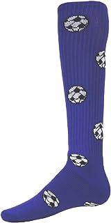 Red Lion Soccer Balls Design Athletic Sports Knee High Socks (Purple - Medium)
