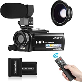 "Andoer HDV-201LM 1080P FHD Digital Video Camera Camcorder DV Recorder 24MP 16X Digital Zoom 3.0"" LCD Screen with 2pcs Rech..."