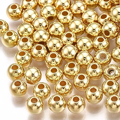 200 perline in plastica di lusso CCB acrilico, 5 mm, colore oro lucido, foro da 1,5 mm, perline distanziali